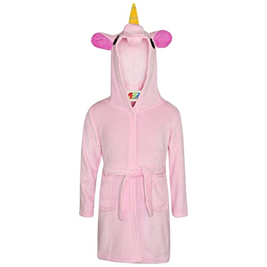 3363a1dd9 Amazon.com: Girls Bathrobe 3D Animal Unicorn Baby Pink Dressing Gown Fleece  Night Loungewear: Clothing