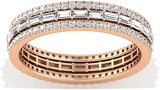 SGL Certified Baguette Moissanite Eternity Ring, Wide Moissanite GH-VS1 Color Clarity Wedding Band, Stackable Anniversary Promise Ring, Valentine Gift, 14K Gold