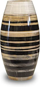 H HOMEPAINT Handmade Large Floor Vase Natural Wood Vase Wooden Flower Vase Decoration for Home Office 7.5 x 13.8 Inch