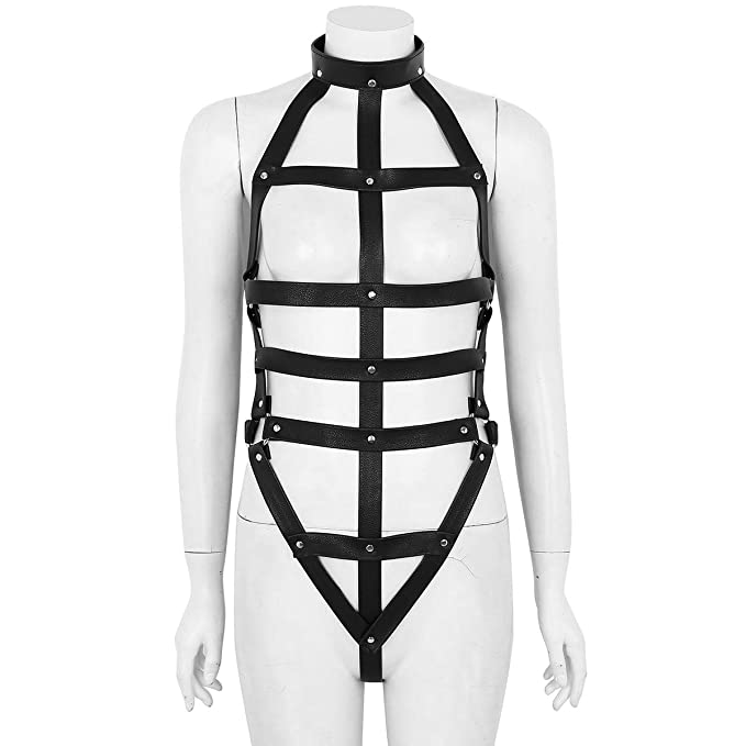 5dd609081c YiZYiF Women Sexy Lingerie Cage Bra Strappy Harness Faux Leather Punk  Gothic Full Body Teddy Costume