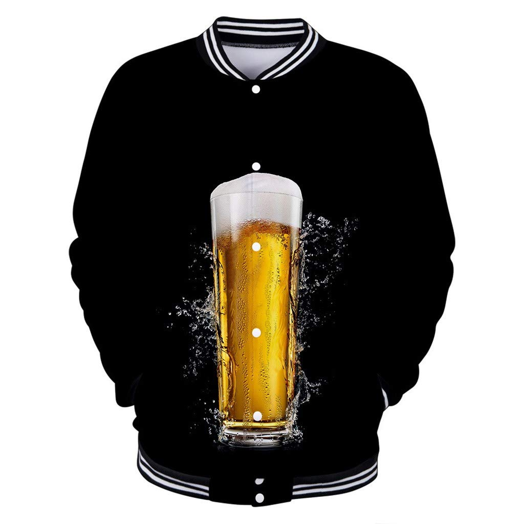 Men's Baseball Jacket, NDGDA Male Casual Long Sleeve Beer Festival New Style 3D Printing Shirt Sportswear by NDGDA 🔰 Men's Jacket & Coat