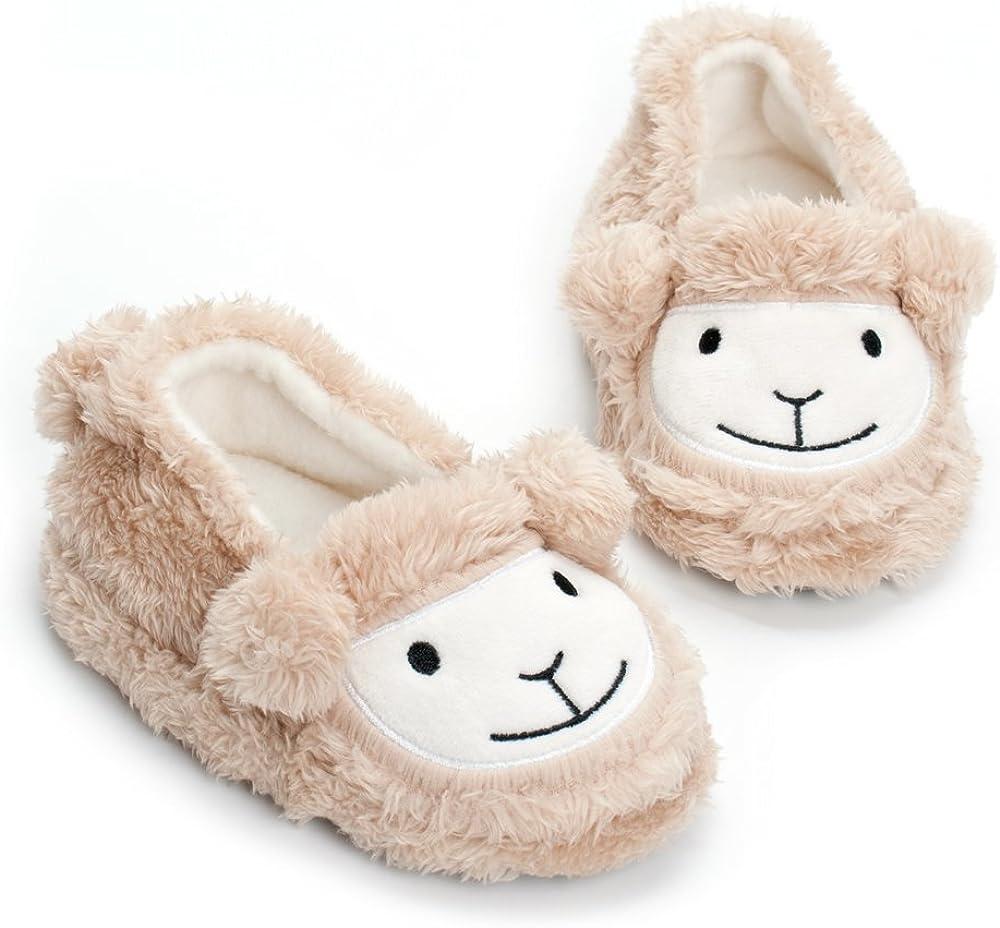 Estamico Toddler Boys Premium Soft Plush Slippers Cartoon Warm Winter House Shoes