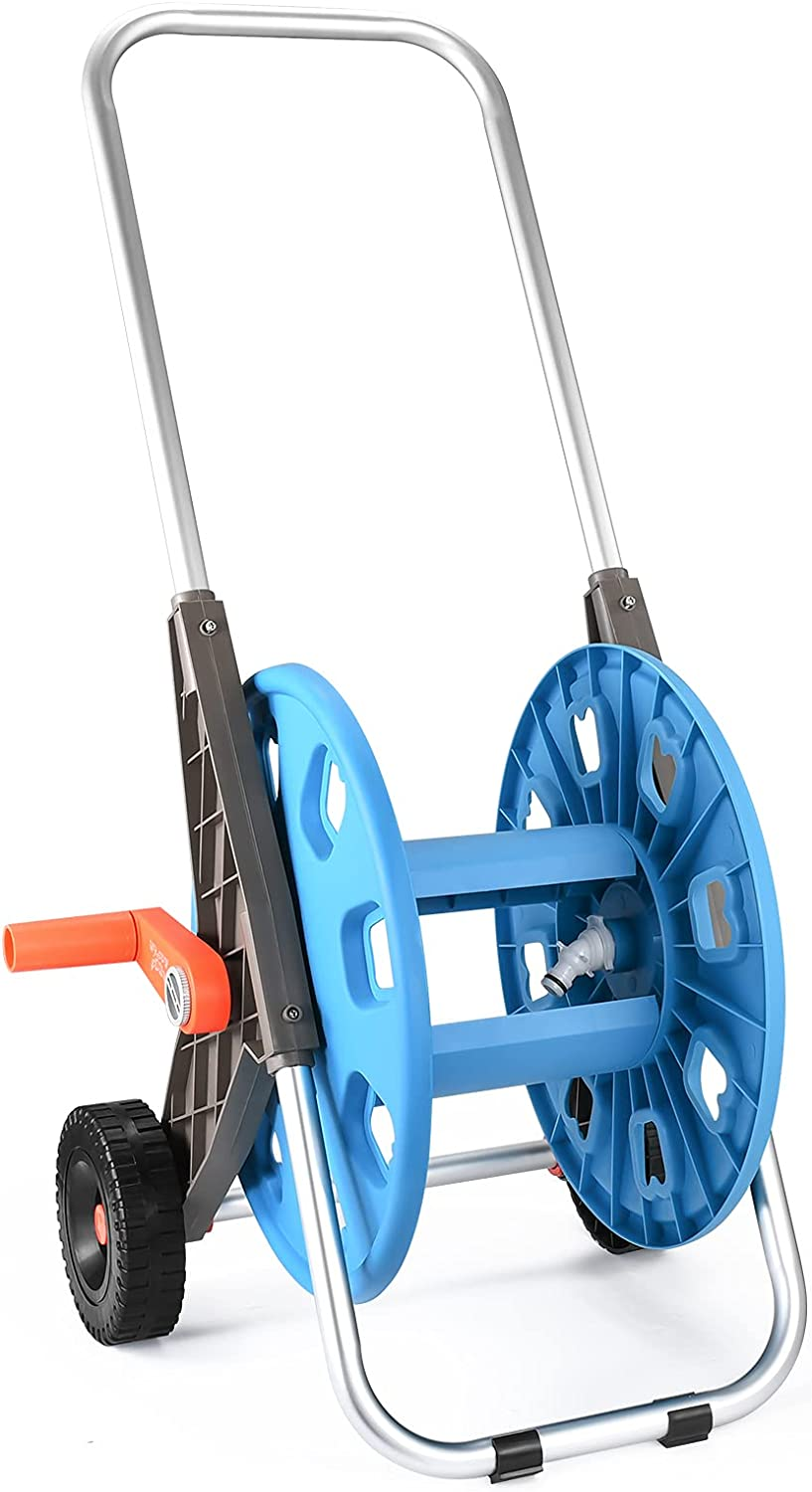 HVDI Garden Hose Reel Cart with 2 Wheels and Heavy Duty Outdoor Water Planting Cart, Retractable Carts Metal HandleHold 175 Feet of 1/2