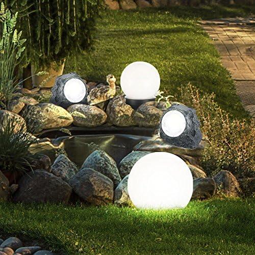 5x Design LED Solar Kugel Erdspieß Außen Steck Leuchten Terrassen Garten Lampen