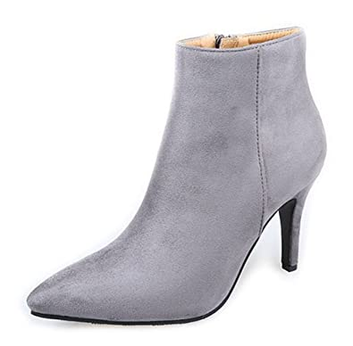 Easemax Femme Classique Talon Aiguille Low Boots Bottines Gris 37 ... becc231bd824