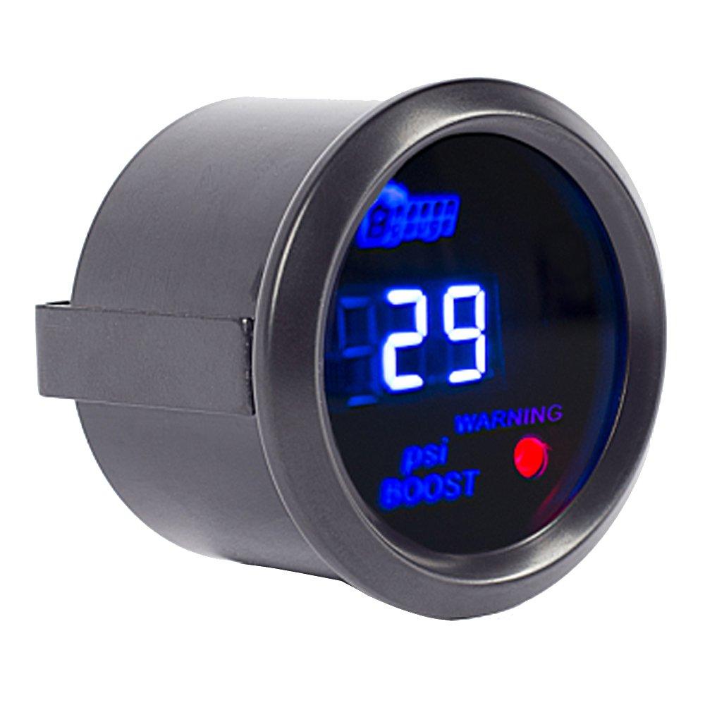 Mintice™ 2' 52mm Noir Voiture Moteur Numérique Lumière bleue de LED Jauge Manomètre d'huile Mètre Jauge
