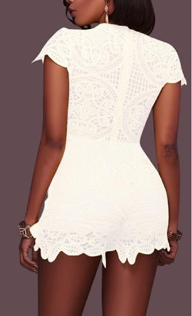 WSPLYSPJY Womens Deep V Neck Lace Shorts Jumpsuits Romper