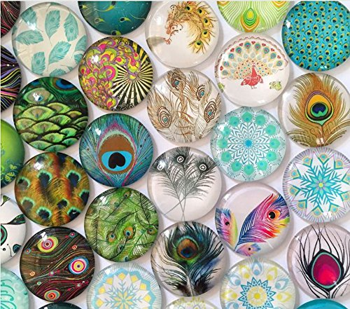 50pcs/lots 10-15mm NEW Peacock Feather Mixed Pattern Round Glass Cabochon