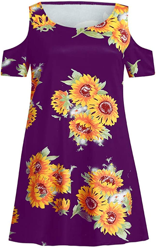 Womens Cold Shoulder Dress Floral Print Sundress T-Shirt Dress for Summer with Pockets Loose Casual Mini Dress