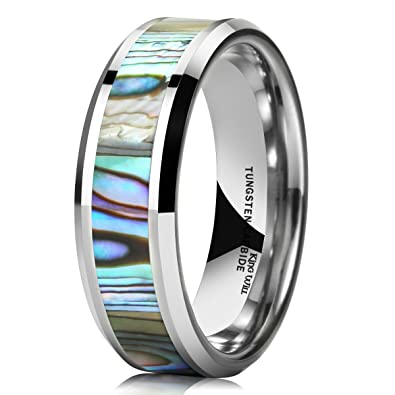 King Will Nature Men S 7mm Tungsten Carbide Ring Abalone Shell Inlay
