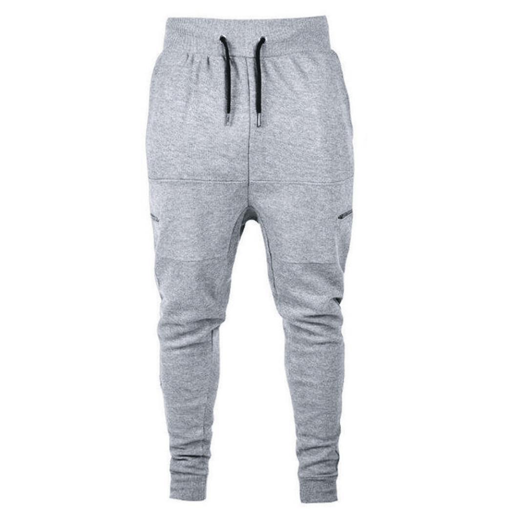 PASATO Hot! Men's Casual Autumn Cotton Patchwork Sports Run Gym Jogger Pants Trousers(Gray, L)