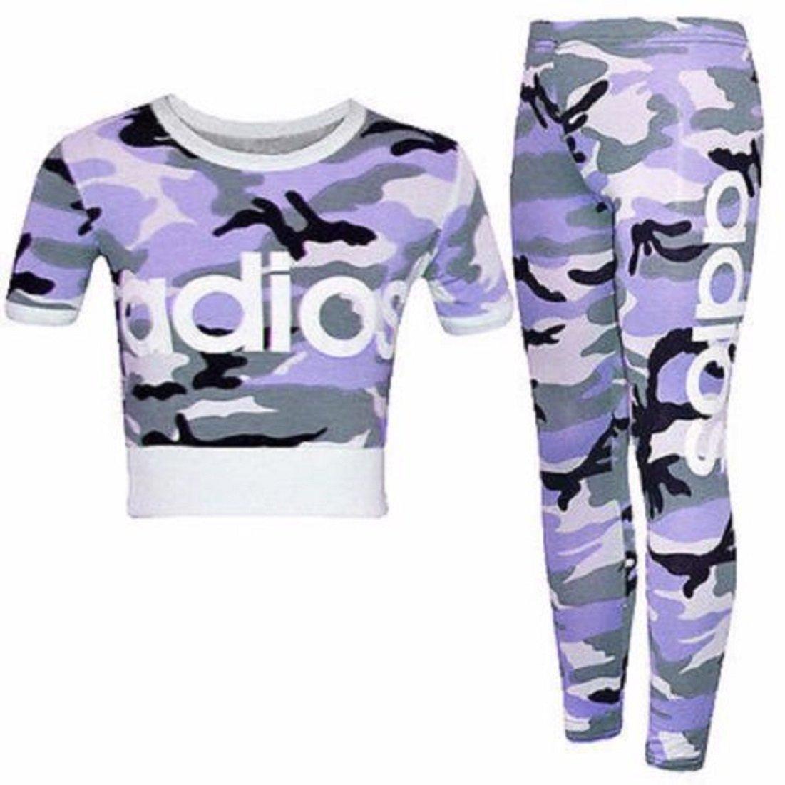 New Girls Kids Adios Print Crop Top /& Legging Loungwear Tracksuit UK Age 2-13 Years