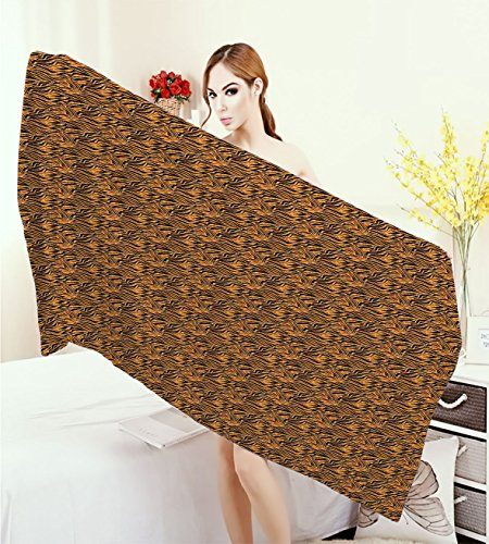 familytaste Tribal Wrap Towels Tiger Skin with Stripes and Warm Toned Background Motifs from African Culture Quick-Dry Towels Orange and Black