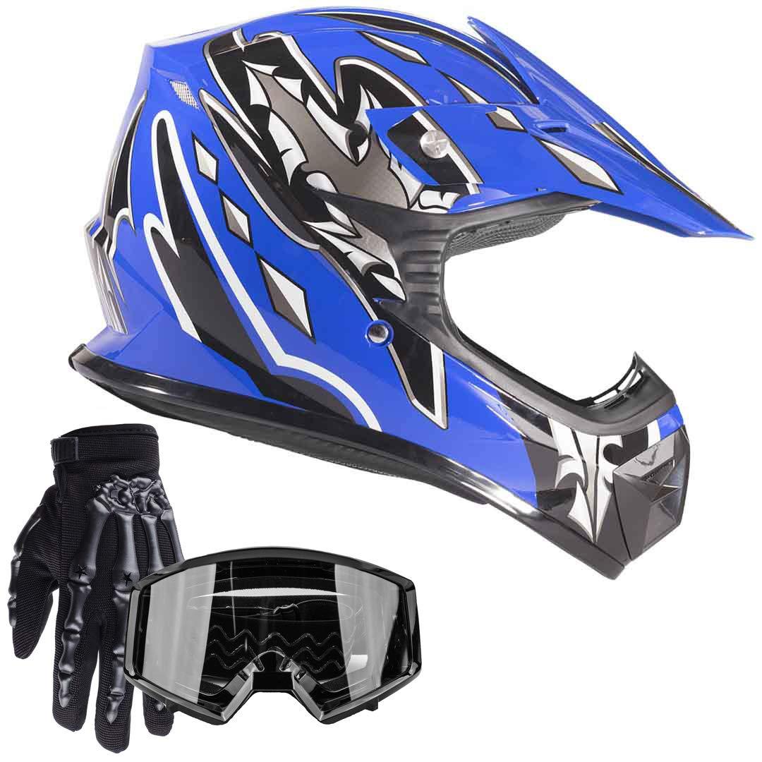 Typhoon Youth Kids Offroad Gear Combo Helmet Gloves Goggles DOT Motocross ATV Dirt Bike MX Motorcycle Blue Large