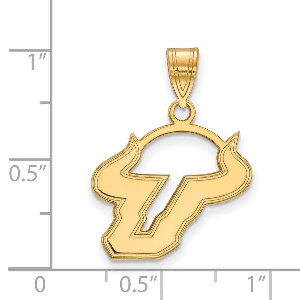 Jewel Tie 925 Sterling Silver with Gold-Toned University of South Florida Medium Pendant 18mm x 24mm