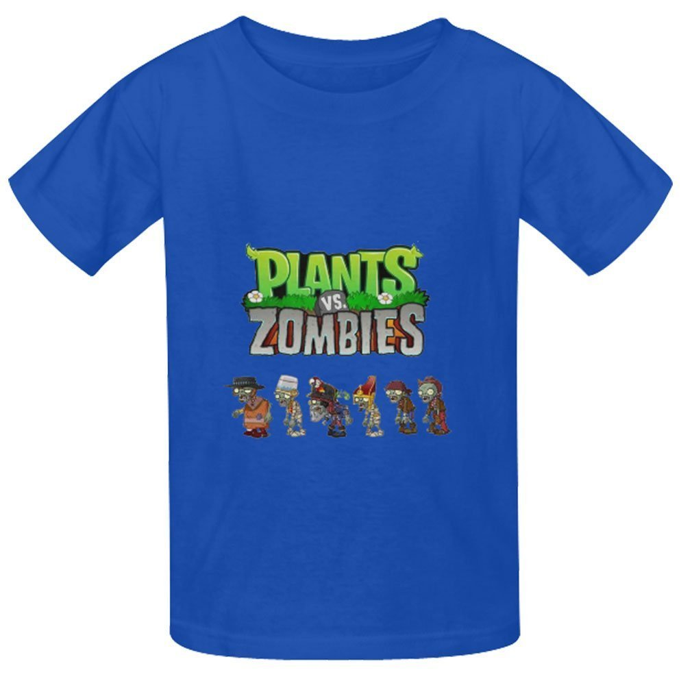 Christopherly Kid's Boy Girl Geek Plants Vs. Zombies T Shirts Summer Tee BlueLarge