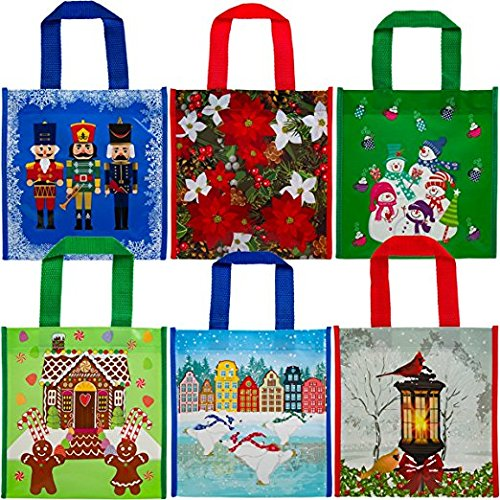 Plastic Coated Christmas Holiday Gift Bags Set of 12
