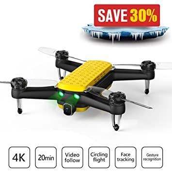 Geniusidea Follow Drone-Portable Quadcopter Drone with 4K HD Video Camera  and GPS Positioning System Remote Controlled by iOS or Android G-IDEA APP