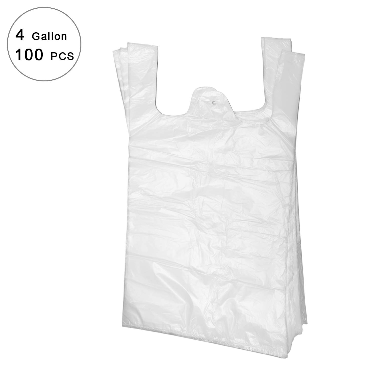 Shopping Bags/Grocery Bags, kitchen trash bags, Reusable Grocery Plastic Bags 100 Count t-shirt bags (Small shopping bags)
