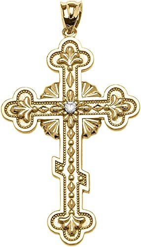 Polished 10k Yellow Gold Solitaire Diamond Cross Pendant