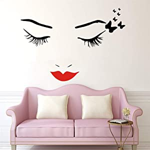 Removable Home Decorative Sticker Beauty Salon Wall Art Decal Eyes Eyelashes Butterflies Vinyl Adesivo Sticker Y-694 (Black with red Lip, 70x85cm)