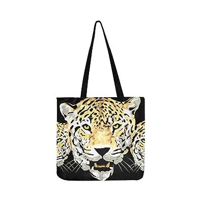 Amazon.com: Bolsa de lona con diseño de cabeza de leopardo ...