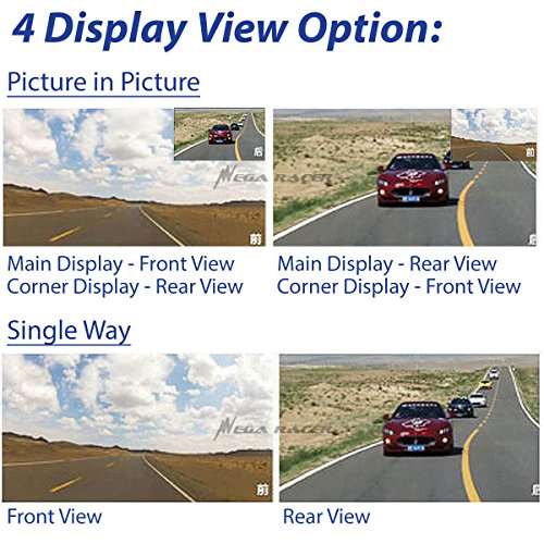 Universal 5'' Monitor 1080P Full HD Blue Tint Car Front/Backup Rear Camera Video Recorder Rearview DVR Cam Inside Mirror by Mega Racer (Image #3)