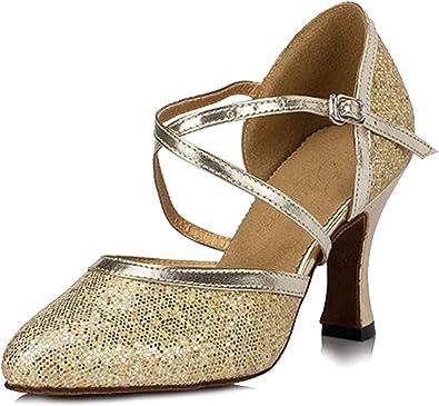 Miyoopark Womens Buckle High Heel Black//Gold Suede Sport Ballroom Latin Dance Shoes Evening Sandals US 4