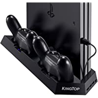 [UPDATED Vertical Stand Charger for PS4/PS4 Pro/PS4 Slim] KINGTOP PS4/PS4 Pro/PS4 Slim Dual Controller Charging Station with Cooling Fan for Sony Playstation 4 Dualshock 4 Pro Game Console