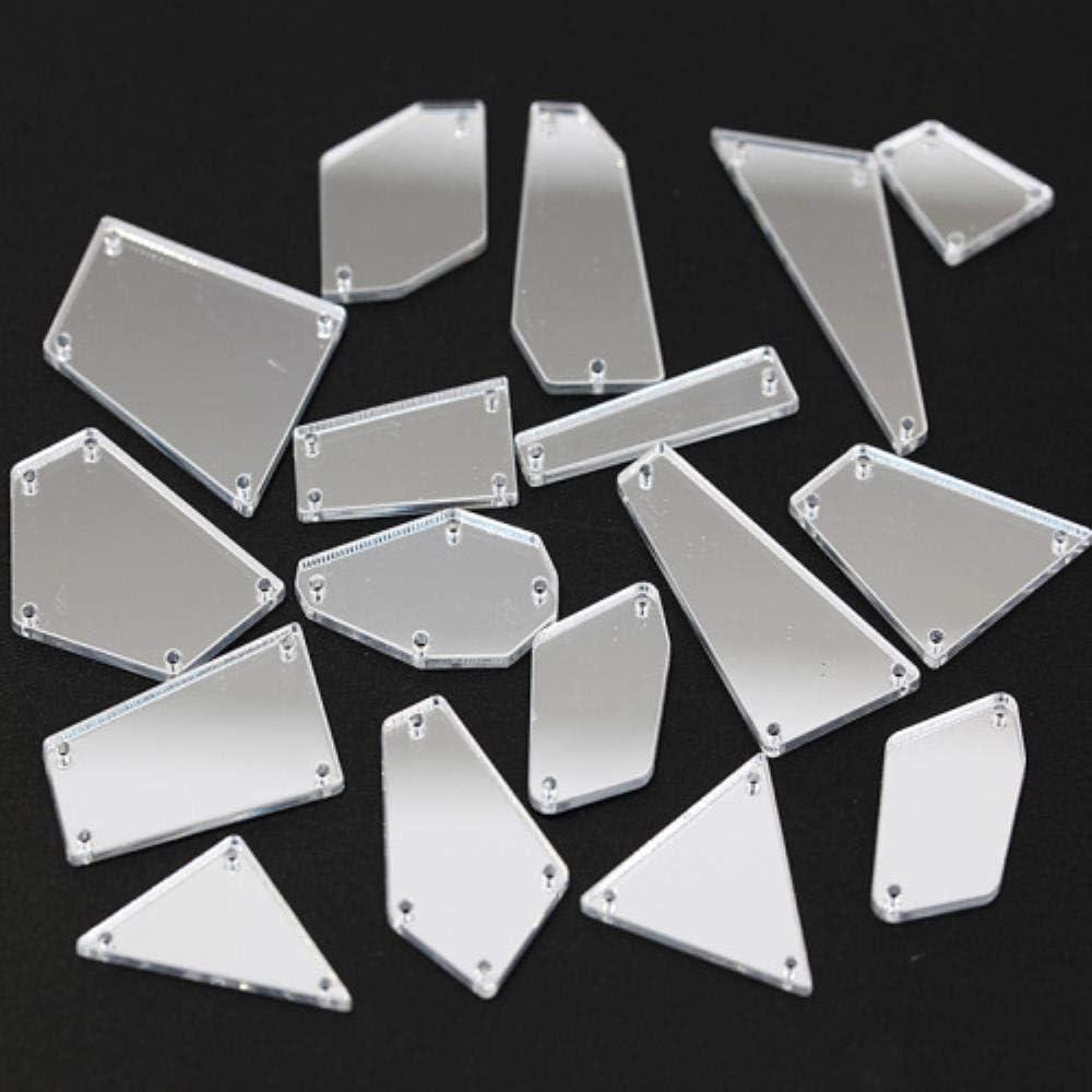 ¡Entrenando para la venta! 50 piezas de cristal de espejo para coser, espejo acrílico irregular de cristales de imitación B3614 Formas mixtas