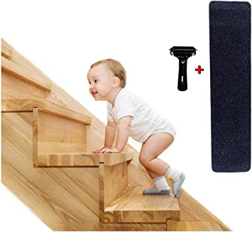 Win-Y 15 Tiras Antideslizantes para Escalera, tiras autoadhesivas antideslizantes, seguridad para niños, ancianos y mascotas, uso en interiores y exteriores (4X24