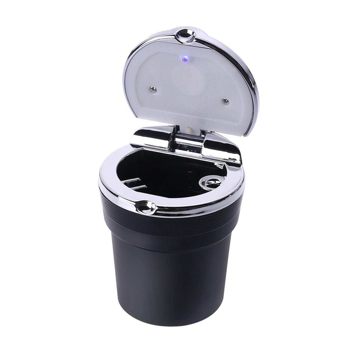 Ultnice Portable Auto Voiture sans fumé e Stand Cylindre Porte-gobelet Cendrier avec lumiè re LED Bleu (Noir)