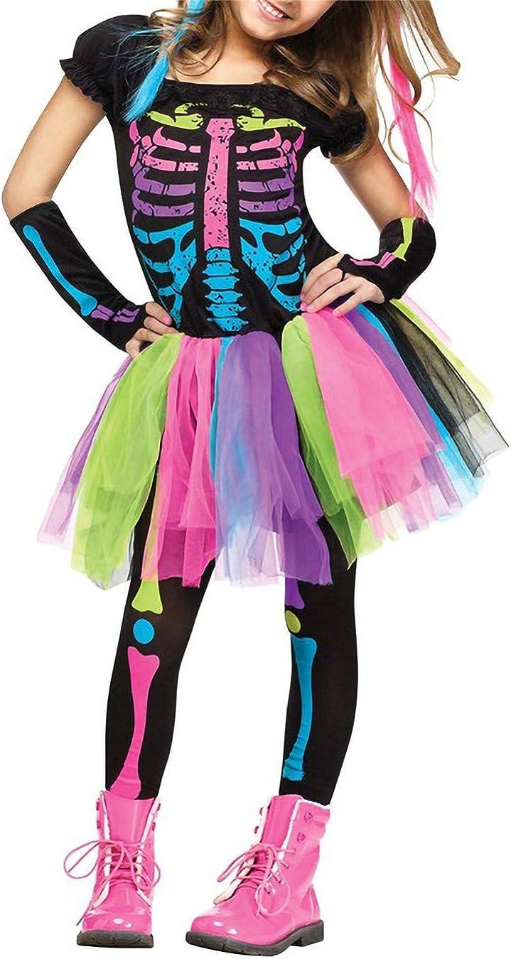 Lecoyeee Disfraz de Esqueleto Halloween Niña Disfraz Día de los ...