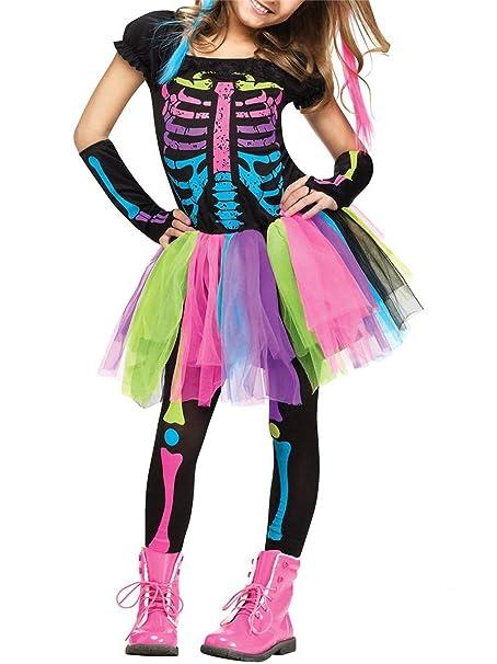Lecoyeee Disfraz de Esqueleto Halloween Niña Disfraz Día de los Muertos Disfraz Señorita Catrina Conjuntos 3 Piezas Falda Arco Iris+Guante+Pantalones ...