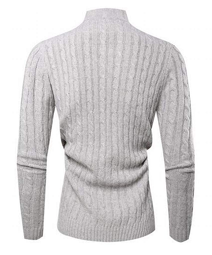 WAWAYA Mens Long Sleeve Casual Button Solid Color Knitted Turtle Neck Pullover Sweaters