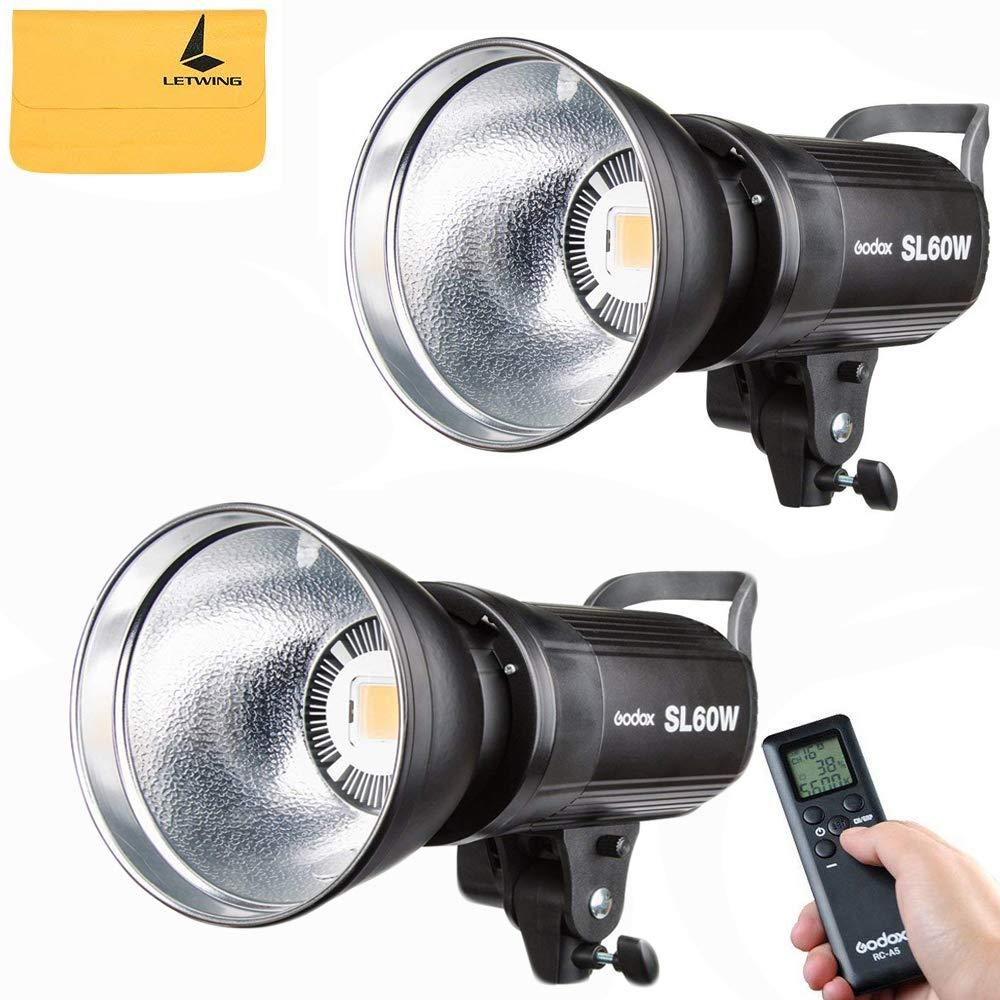 GODOX LEDビデオライト SL60W 定常光ライト LED高輝度フィルライト、明るさを調整するワイヤレスリモコン、ビデオ撮影/結婚式の写真撮影/インタビューの照明/静物撮影のための 光源を提供する[2個入り]   B07RP5DN5S