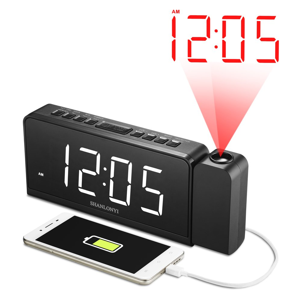 """SHANLONYI Projection Alarm Clock Radio with AM/FM, Time Projector, Mobile Device USB Charging Station, Large 7"""" LED Display, Dual Alarm, Battery Backup"""