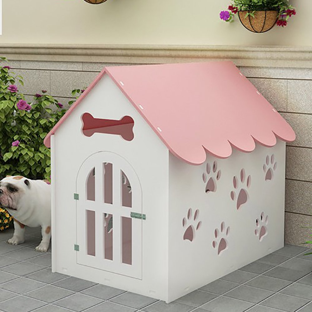 with the door side open yellow M Systond Environmental Protection Plate Front Door Dog House Hollow Out Pet House