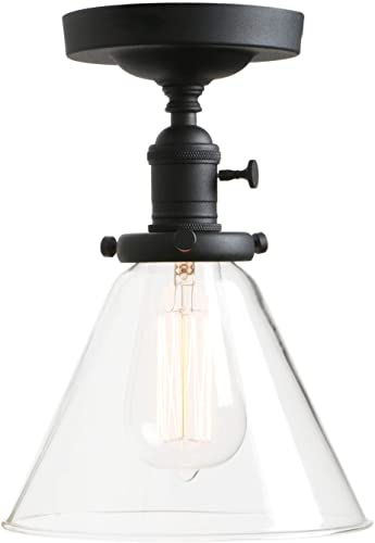 Permo Vintage Industrial Semi Flush Mount Ceiling Light Fixture Pendant Lighting