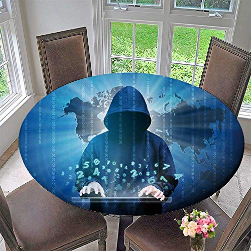 - PINAFORE HOME Round Premium Table Cloth Computer Hacker Hooded Man with Binary Data Perfect for Indoor, Outdoor 31.5