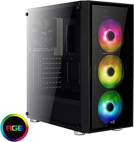 Aerocool QUARTZRGB - Caja gaming para PC (semitorre, ATX, 2 paneles de cristal templado, 7 ranuras de expansión, incluye 3 ventiladores 12cm RGB, 4 modos de color, incluye HUB P7H1), color negro: Aerocool: Amazon.es: Informática