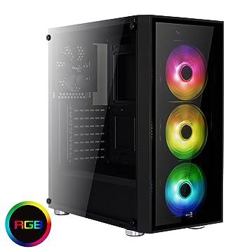 Aerocool QUARTZRGB - Caja gaming para PC (semitorre, ATX, 2 paneles de cristal