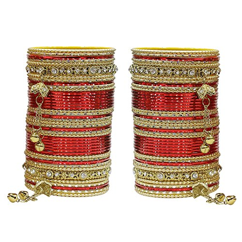 Bangle Wedding Jewelry - MUCH-MORE 86 Bangles Set of Multi Colour Amazing Collection of Latkhan Bangles Set (Red, 2.4)
