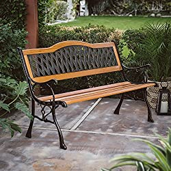 Outdoor Garden Bench Wood and Metal Furniture Deck Seat 50 in. Curved Crisscross Pattern Back Ideal for Backyard, Porch or Gazebo