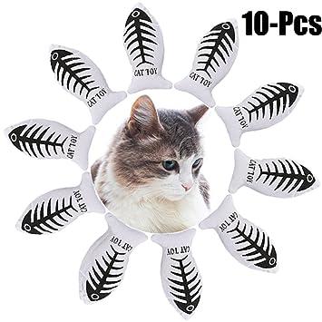 Juguete Del Gato, Legendog 10PCS Juguete Catnip Interactive Canvas Juguetes De Pescado Juguetes Para Masticar Gatos Juguete Del Juego Del Animal DoméStico: ...