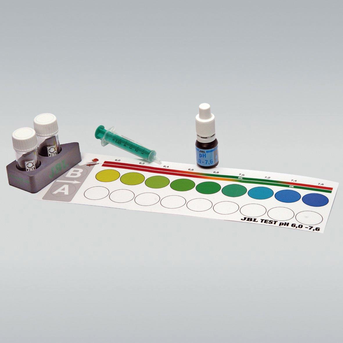 JBL pH 6,0-7,6 Test-Set, Test rapide pour déterminer le pH dans les aquariums d'eau douce, Plage 60-76 25347