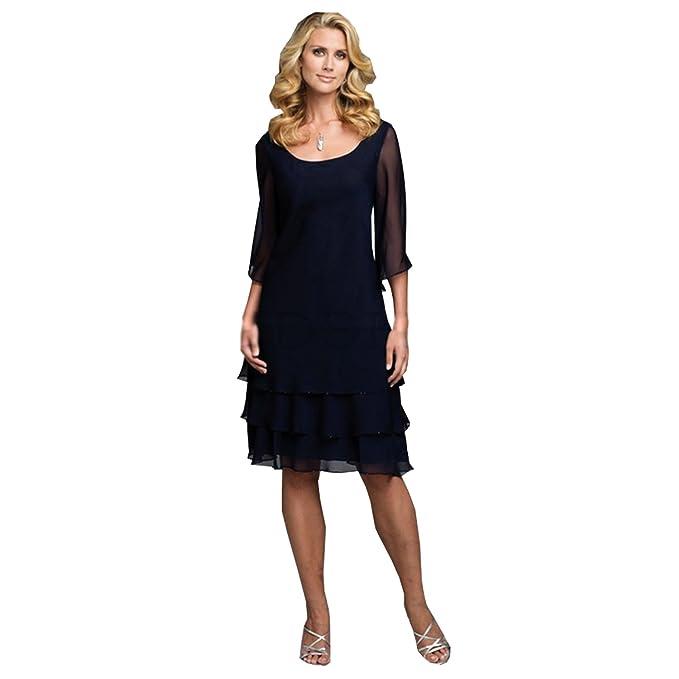 f7c70fb46c0 Kelaixiang Navy Blue Chiffon Mother of The Bride Dresses Layered Knee Length  (2)