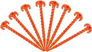 "Canopy Stakes Tent Pegs Beach Tent Stakes Heavy Duty Screw Shape 10"" 10 Pack Yellow / 7.9"" 8 Pack Yellow / 10"" 4 Pack Orange / 10"" 8 Pack Orange"