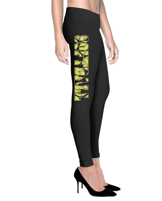 Printed Leggings Softball - Women Comfort Fit Legging - Black
