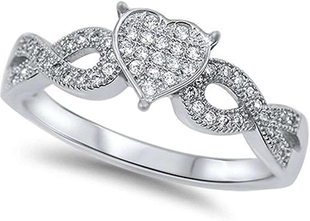 Princess Kylie Pave Set Clear Cubic Zirconia Heart Infinity Ring Sterling Silver